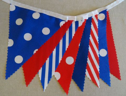 BUNTING Red White Blue - Plain Stripe Spots on White Tape - 3m/10ft or 5m/16ft